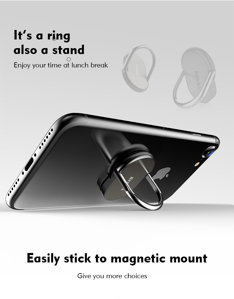 Benks Phone Ring Stand Luxury 360 Degree Adjustable Magnetic Resistant to Shock
