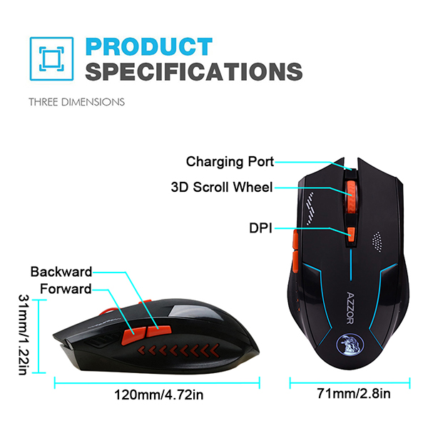 AZZOR Wireless Slient Computer Gaming Mouse Rechargeable Adjustable DPI