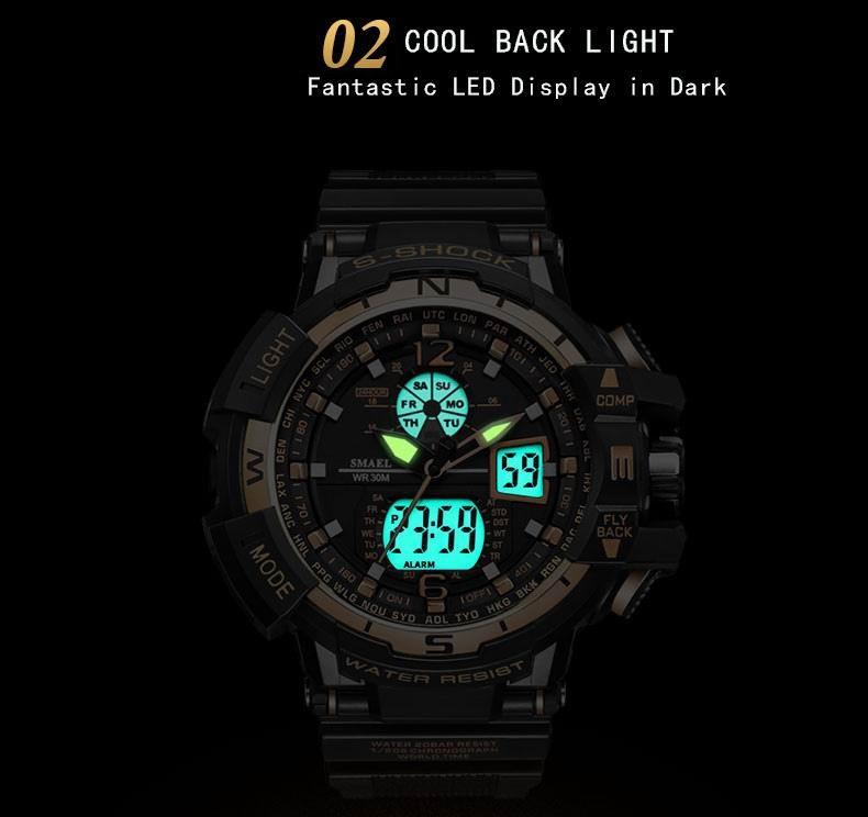 SMAEL 1376C Waterproof Sports Men's Watch Military Fashion Luxury Dual Display