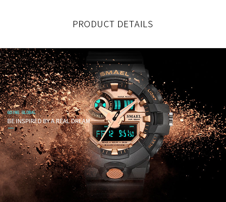 SMAEL 1642 Men's Sport Waterproof Watch LED Dual Display Military Clock