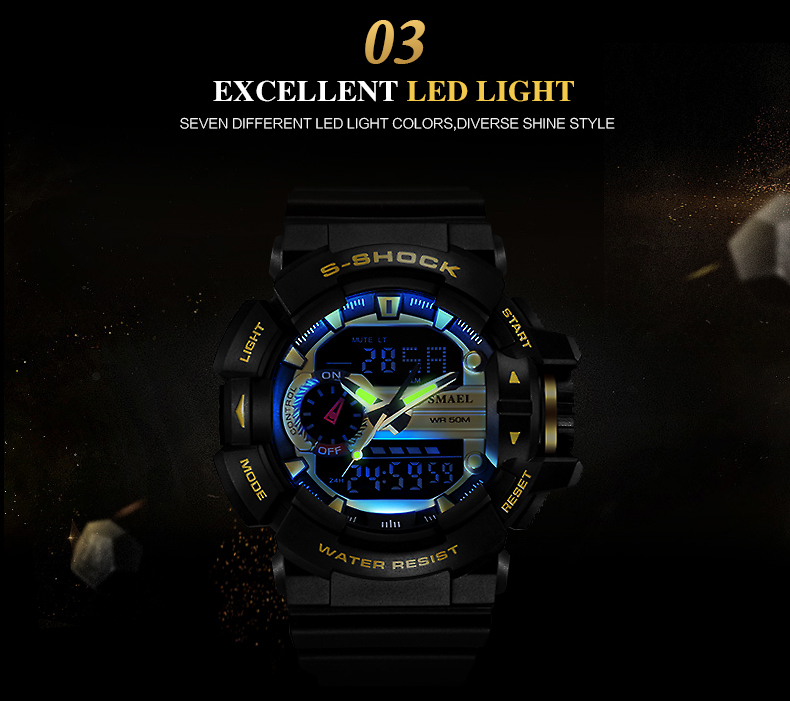 SMAEL 1436 Men's Sports LED Watch Military Waterproof Digital Dual Display Clock