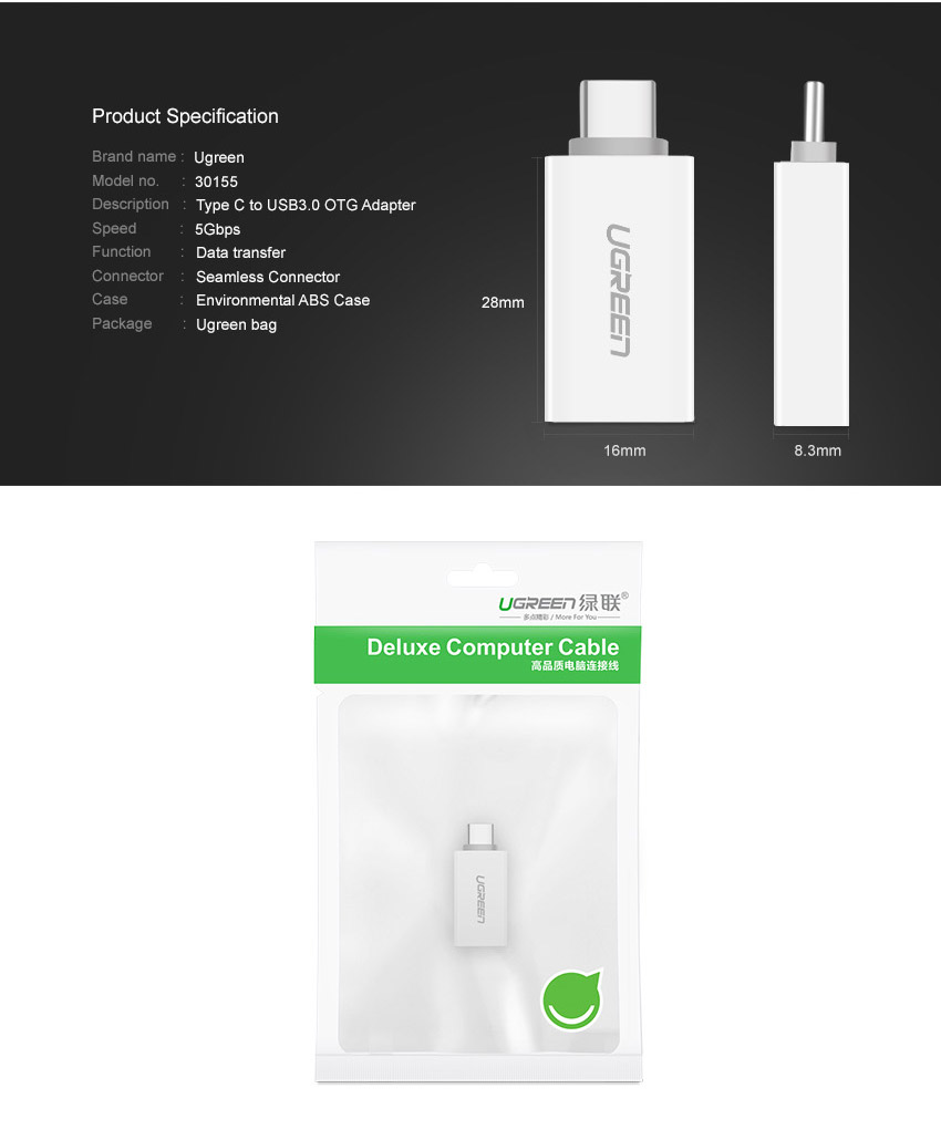 Ugreen US173 Type-C Male to USB 3.0 Female OTG Adapter Converter