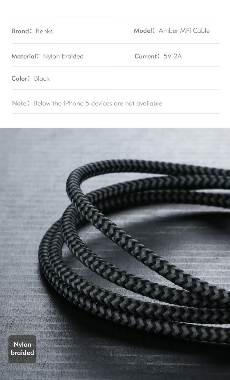 benks mfi usb cable for iphone