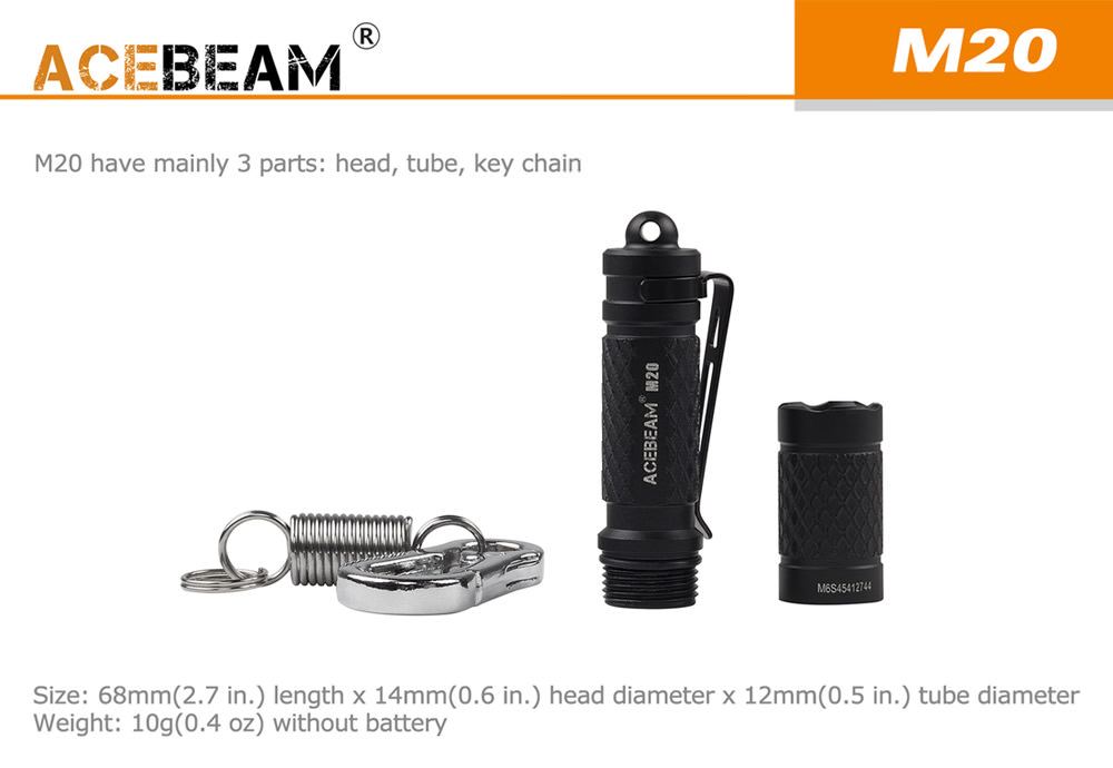 acebeam m20 led flashlight