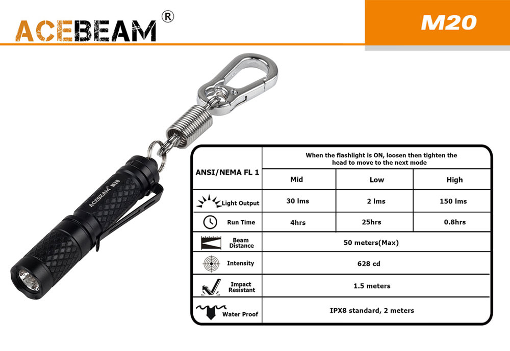 acebeam m20 keychain flashlight