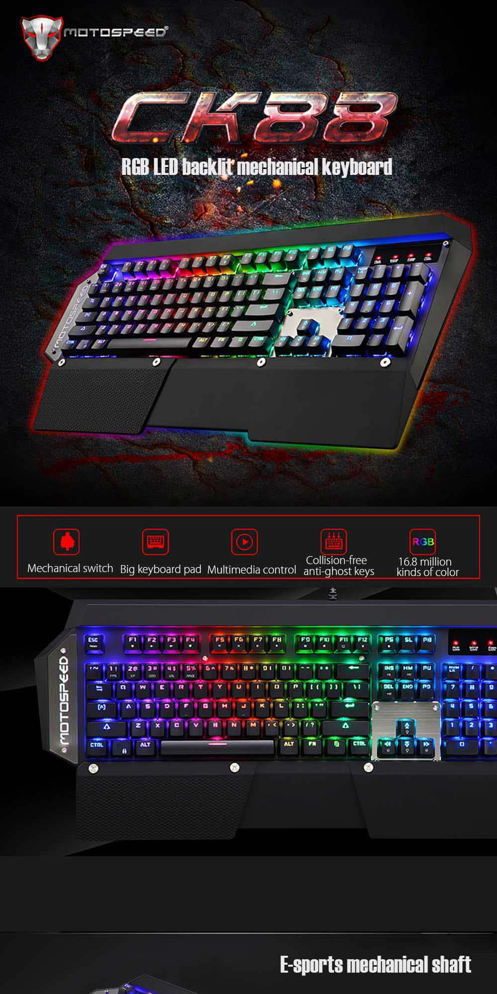 motospeed ck88 mechanical keyboard