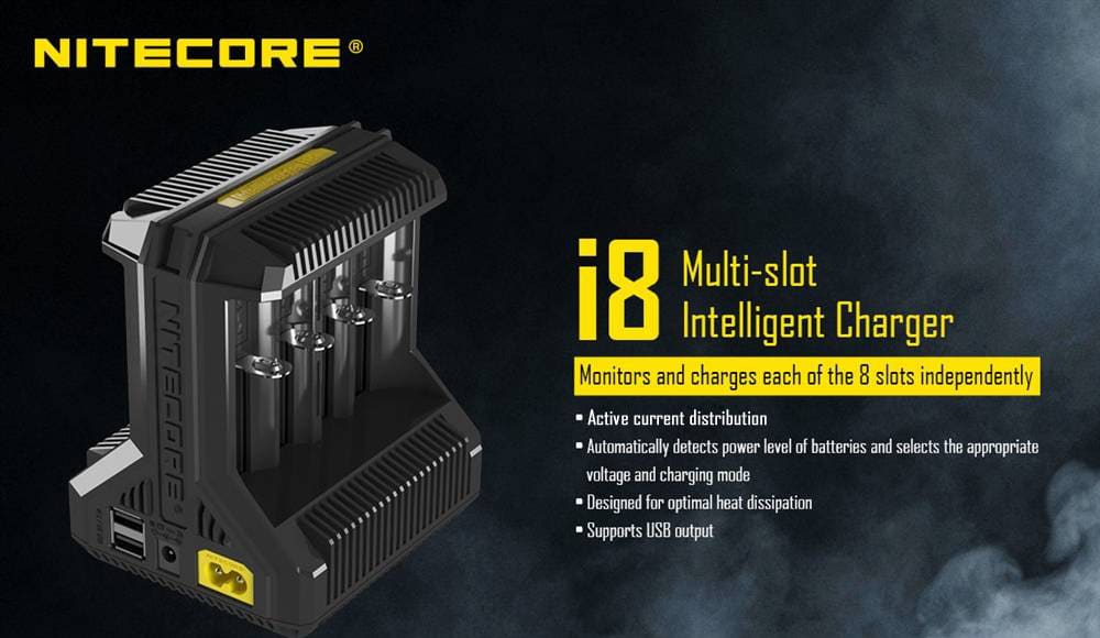 nitecore i8 8-slot battery charger