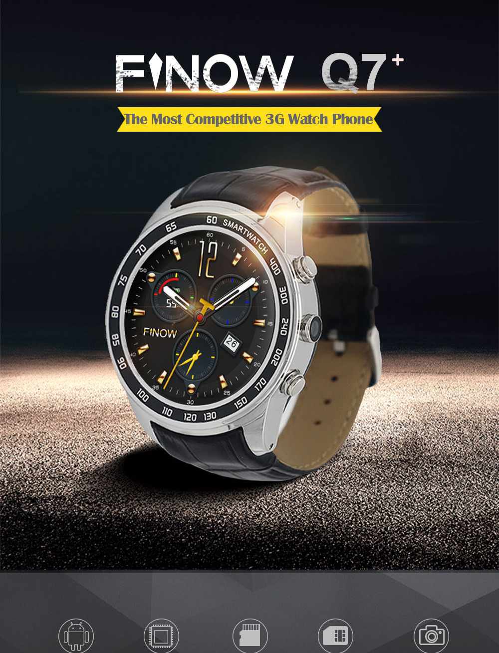 FINOW Q7 Plus 3G Smartwatch