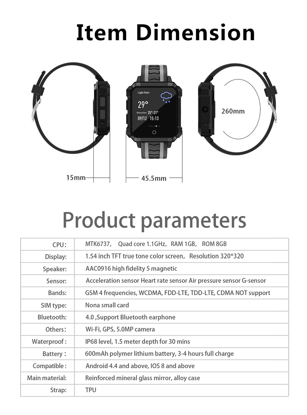 microwear h7 4g smartwatch phone