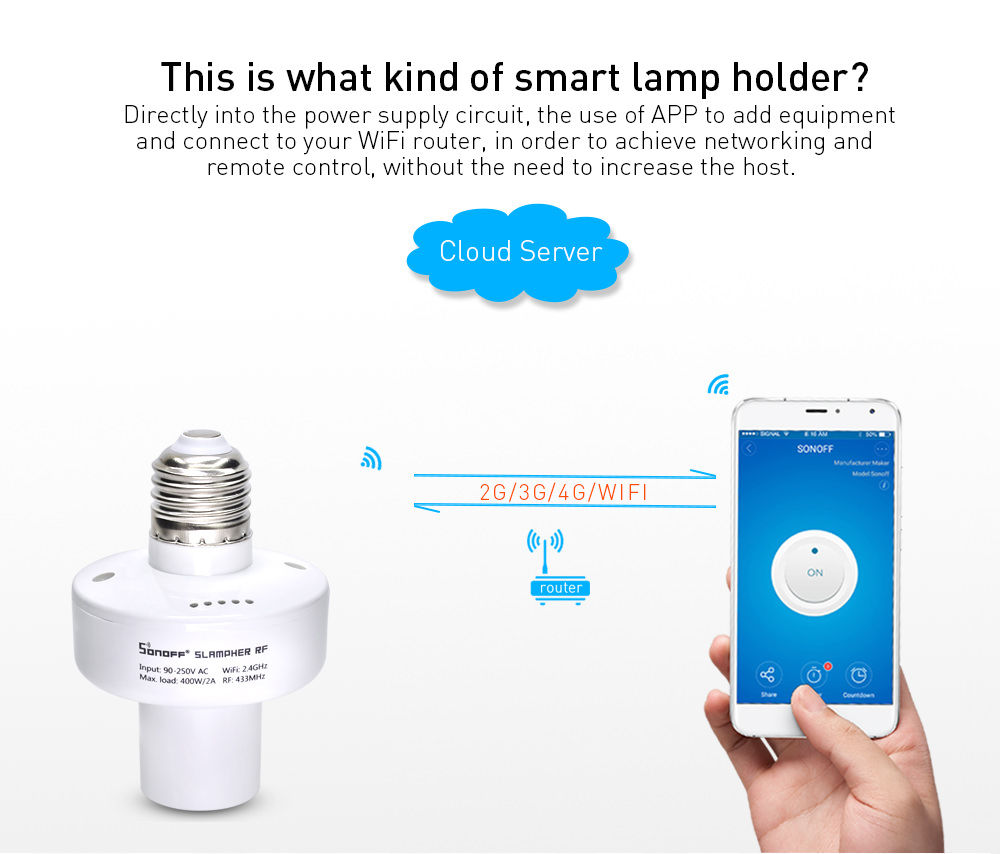 sonoff slampher rf smart lamp holder sale