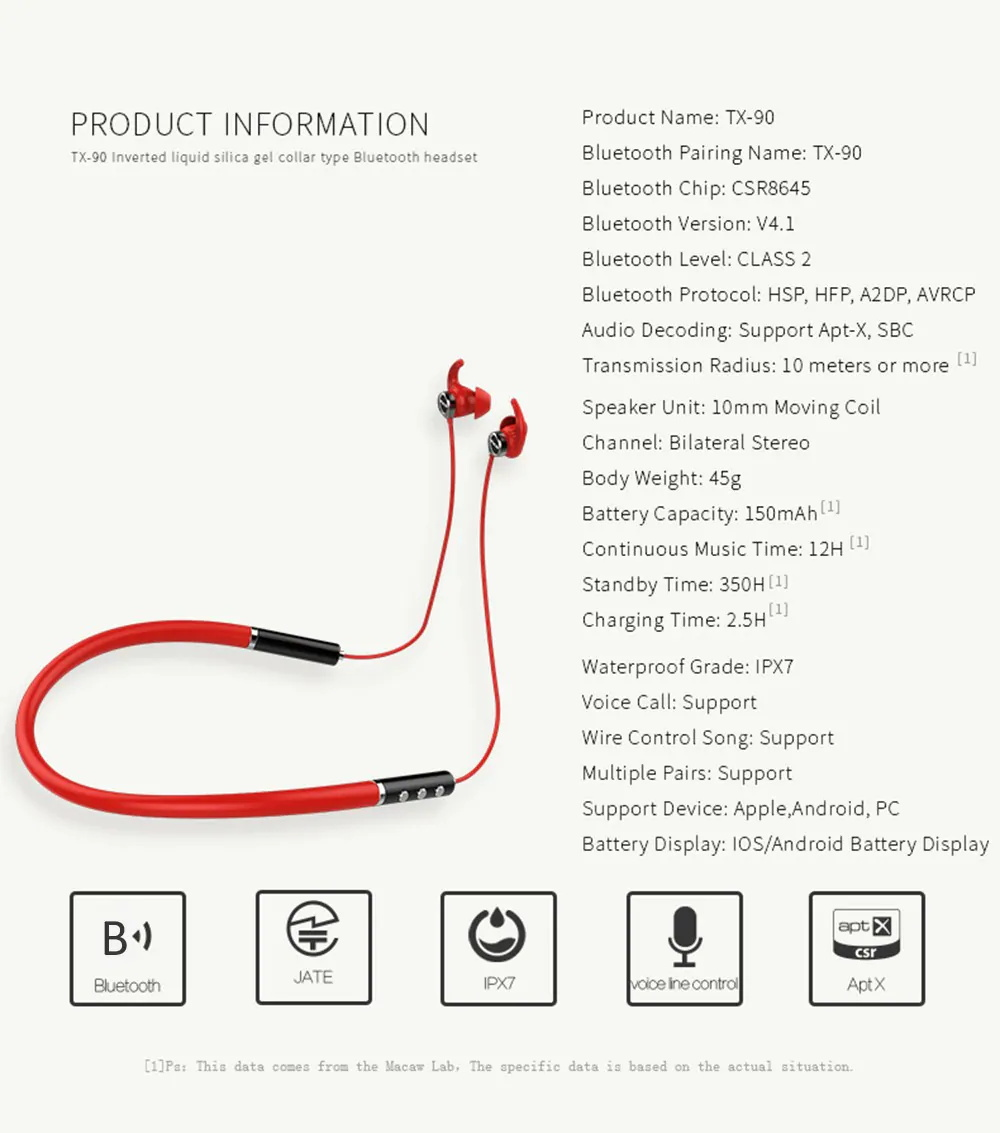 macaw tx-90 bluetooth earbuds