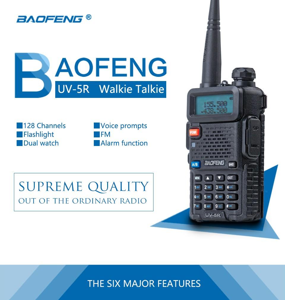 Walkie talkie de banda dual UV-5R de BAOFENG - 128 canales, indicaciones de voz BAOFENG-UV-5R-Walkie-Talkie-1