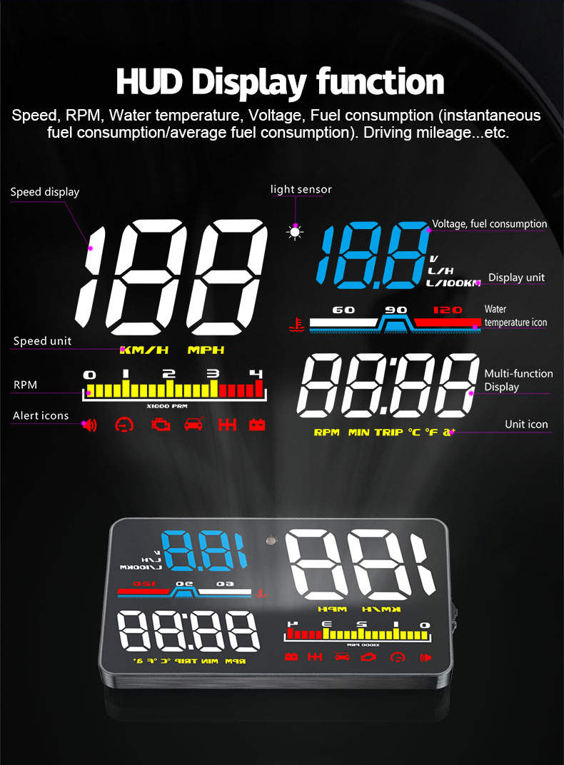 best d5000 car hud head up display