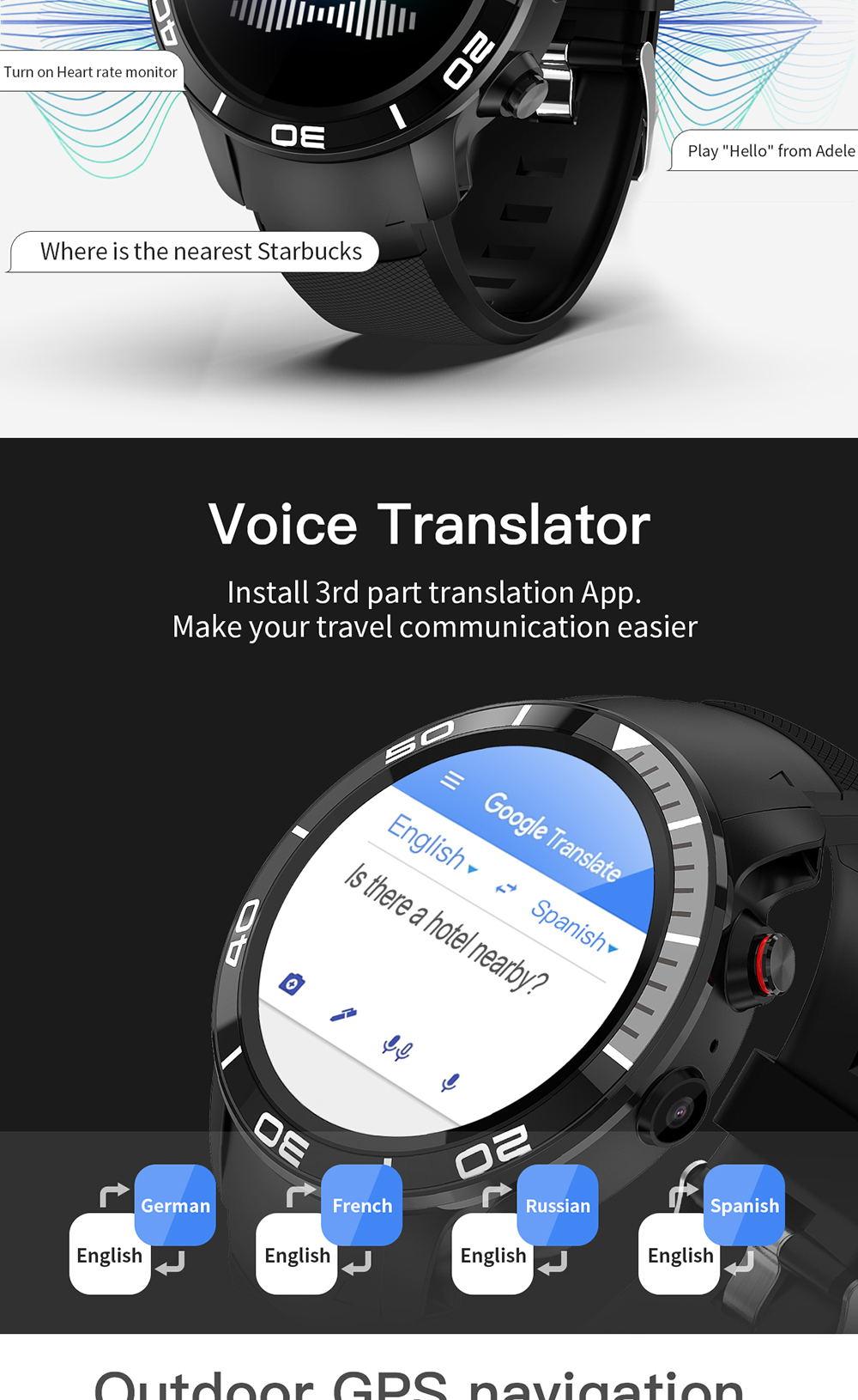 2019 microwear h8 4g smartwatch