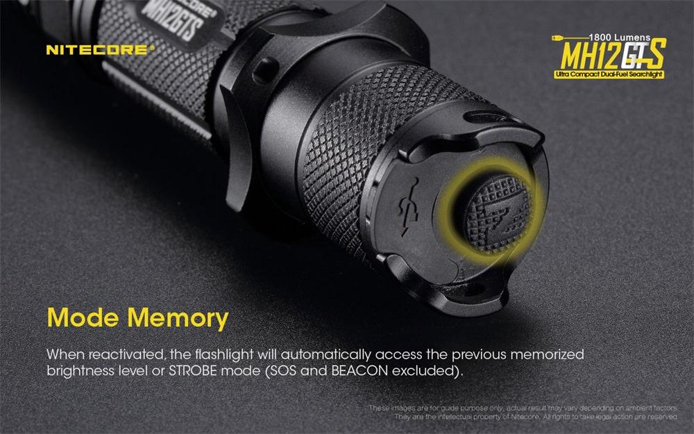 nitecore mh12gts rechargable flashlight