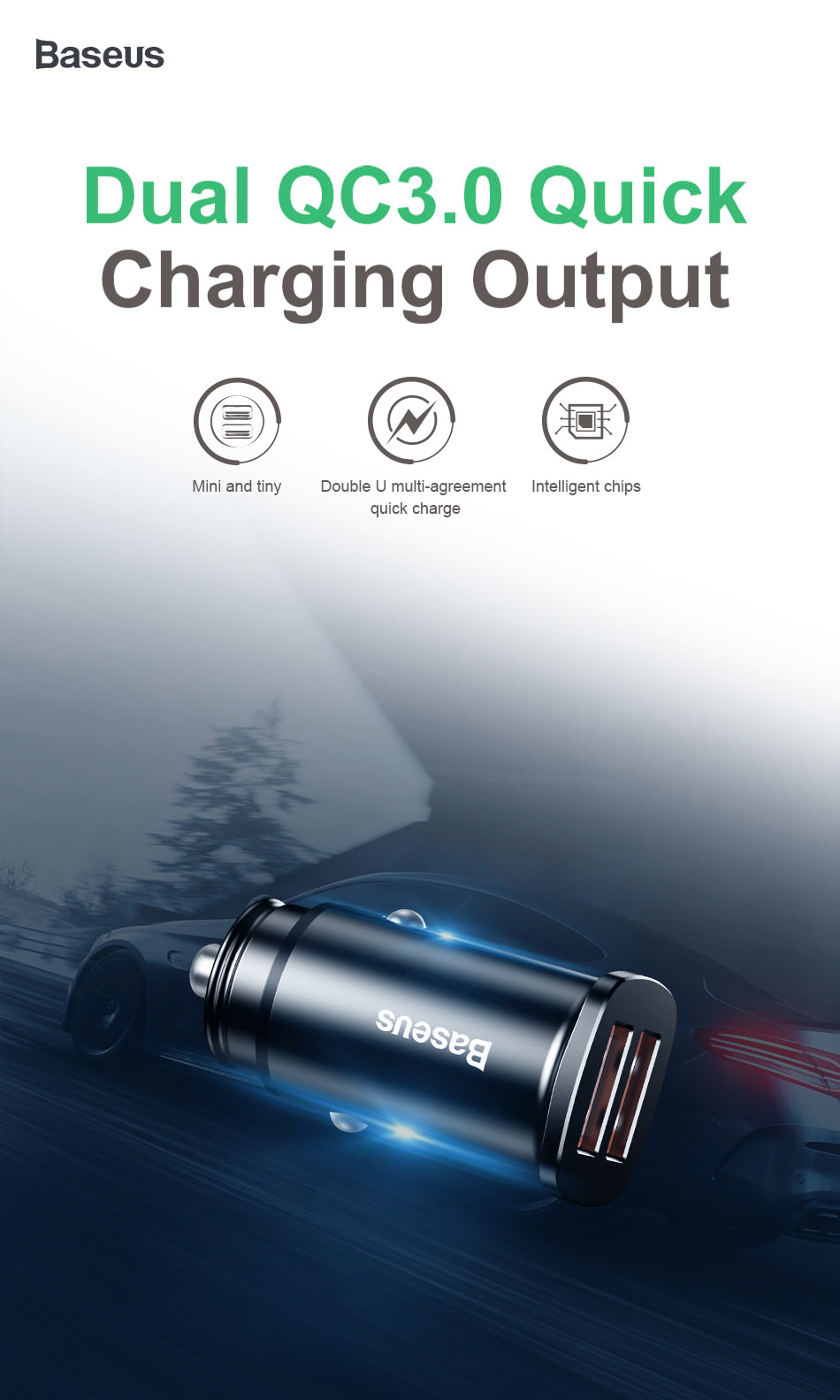 baseus car charger dual qc 30w
