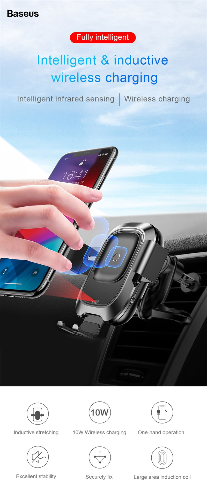 baseus qi car wireless charger