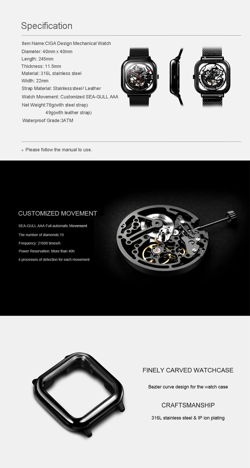 buy ciga design mechanical watch