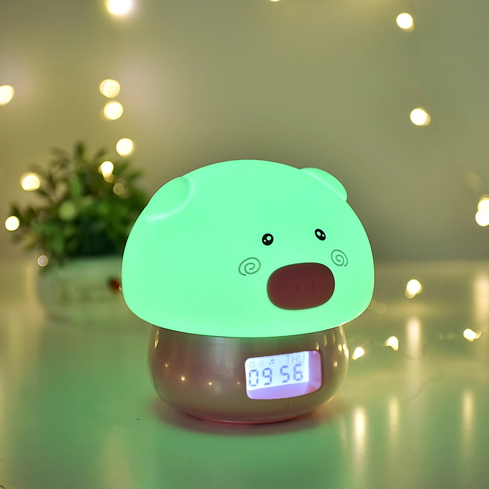 cute animal alarm clock with light
