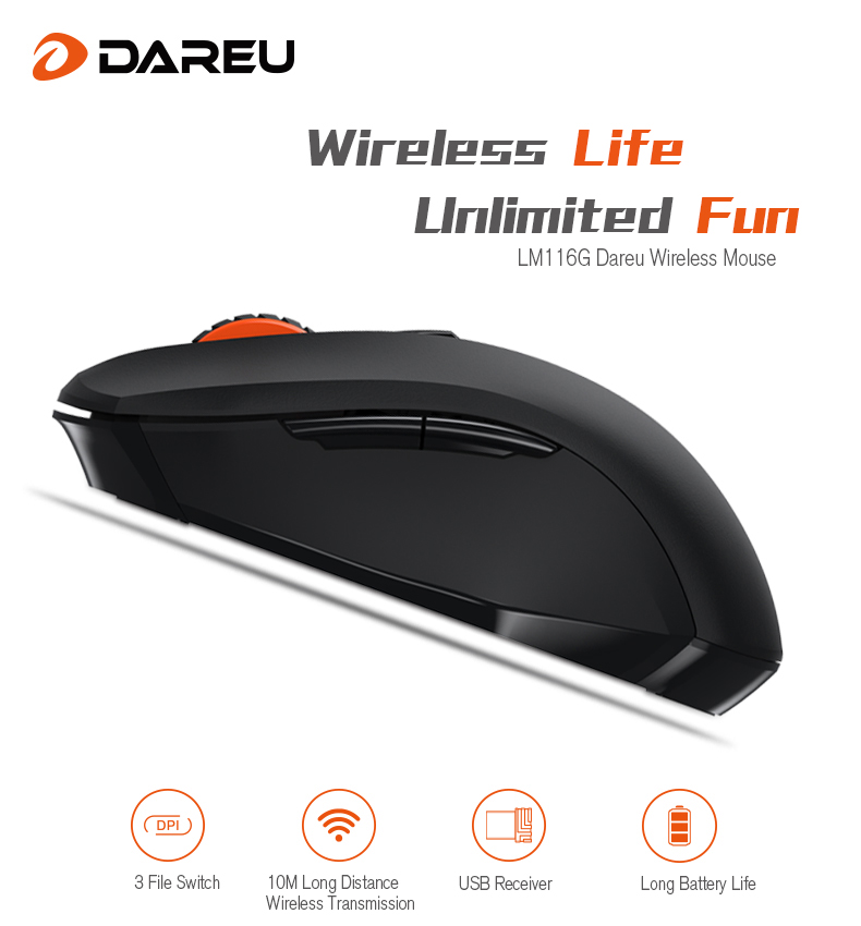 dareu lm116g mini wireless mouse