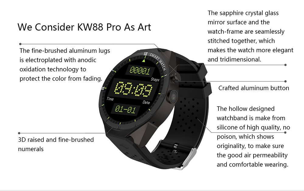 Shop For Kingwear Kw88 Pro 3g Smartwatch Phone 512mb Ram 4gb Rom At