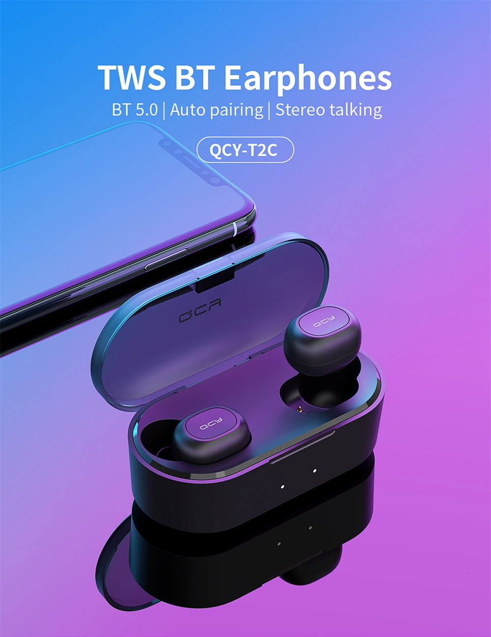qcy t1s mini wireless earphones