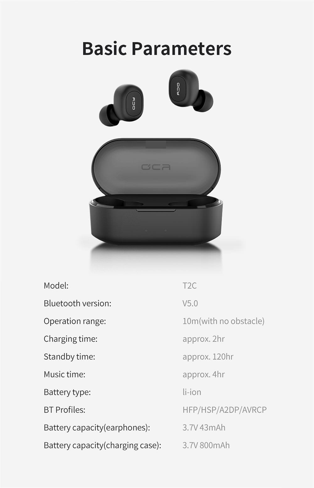 qcy t1s true wireless earphones