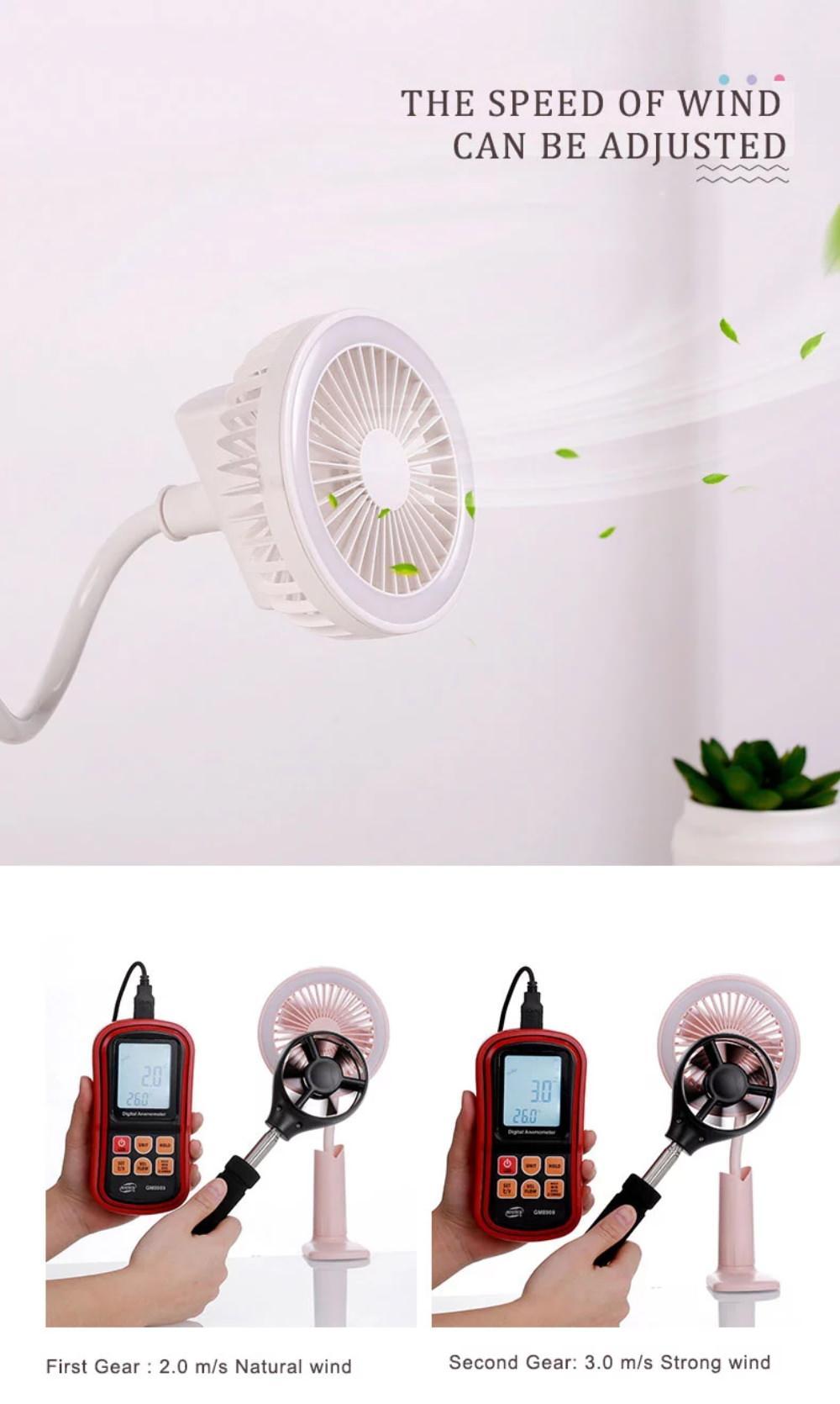 shower clip fan with light