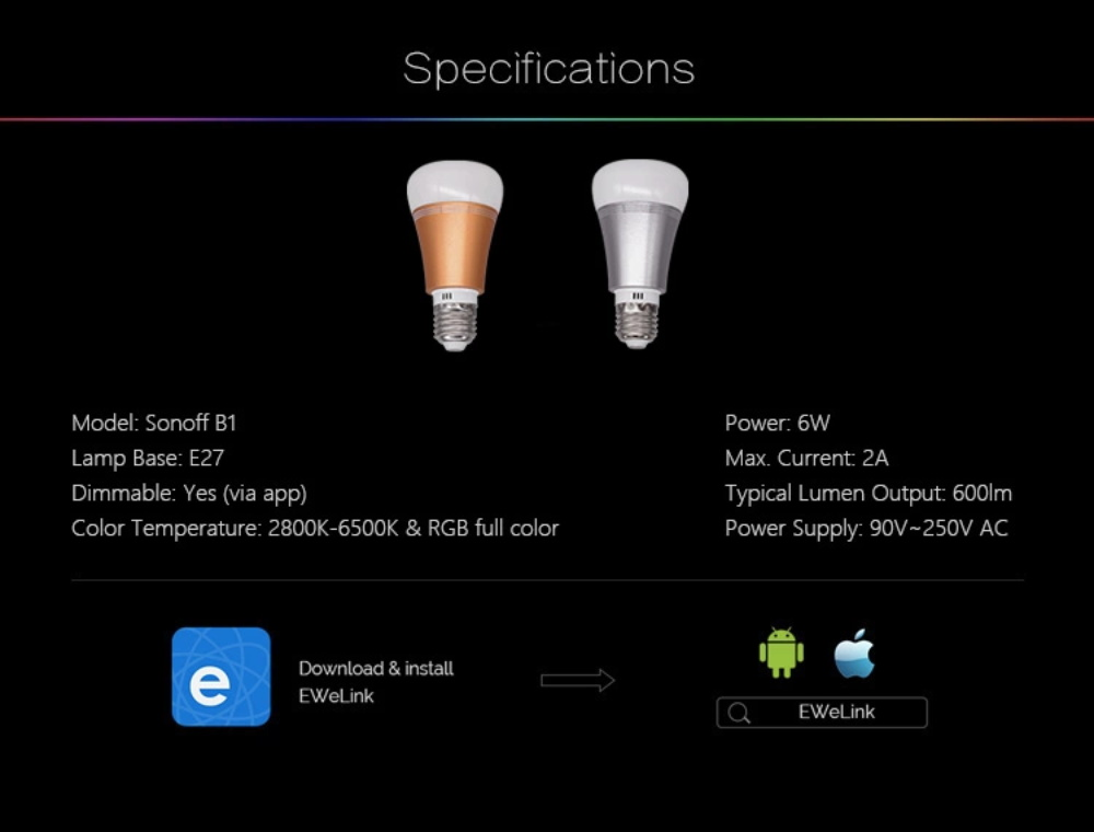 sonoff b1 smart led bulb price