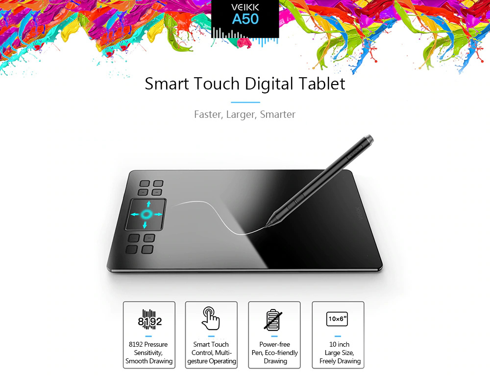 veikk a50 smart touch digital tablet