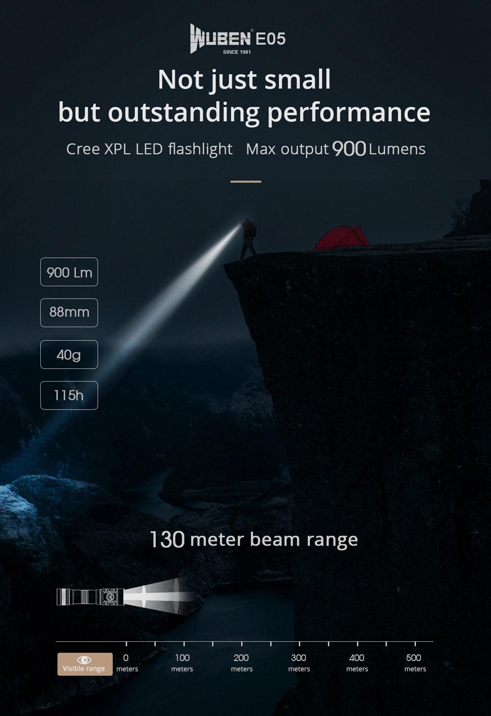 wuben e05 led flashlight