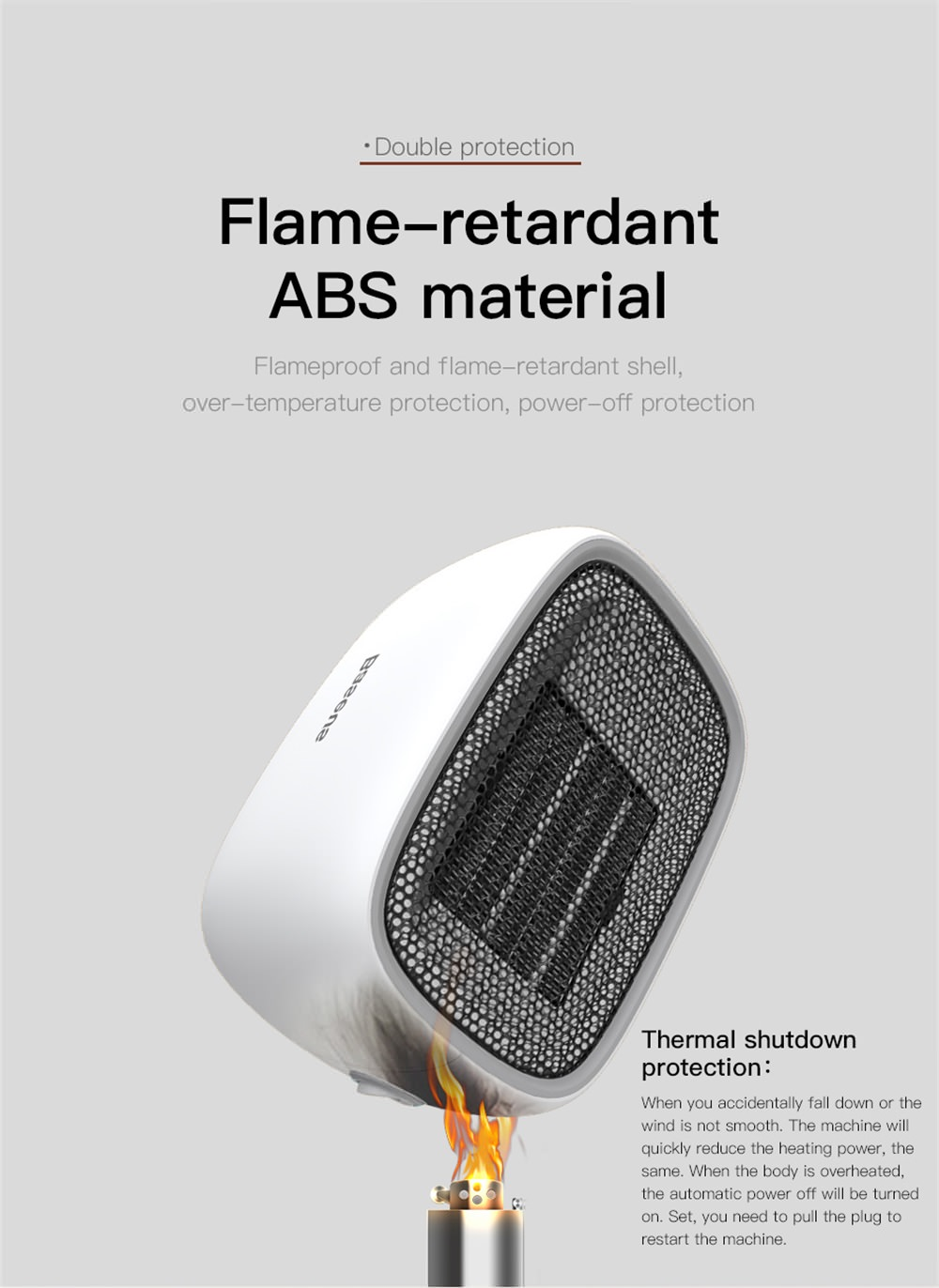 2018 baseus portable mini fan heater