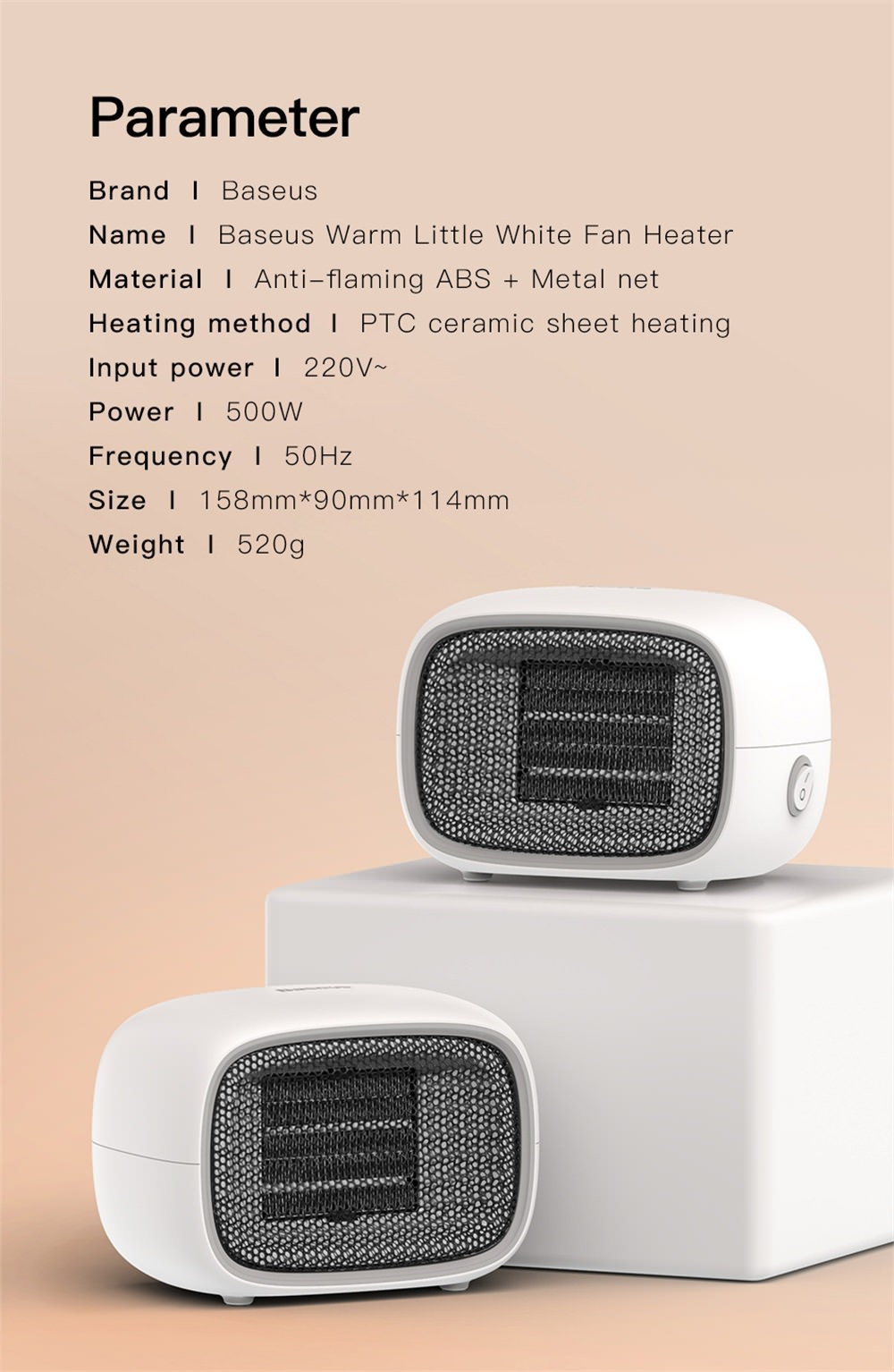 2018 baseus electric air heater
