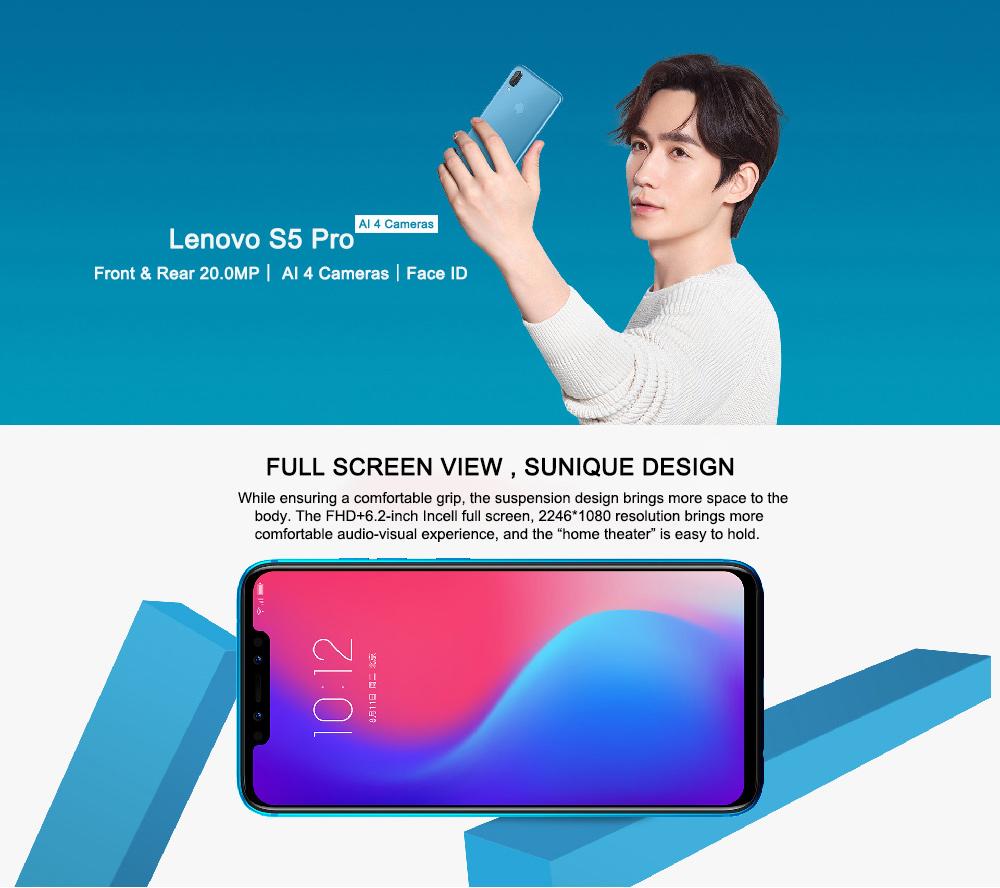 Lenovo S5 Pro - 20MP AI cuatro cámaras, carga rápida, desbloqueo facial Lenovo-S5-Pro-4G-Smartphone-1