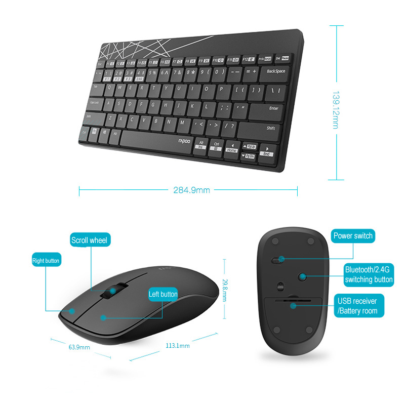 rapoo 8000m wireless keyboard and mouse set