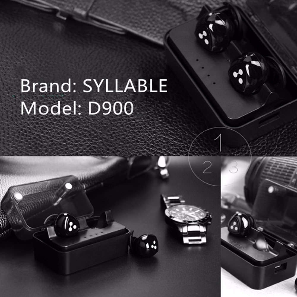 syllable d900 mini double-ear wireless bluetooth headset