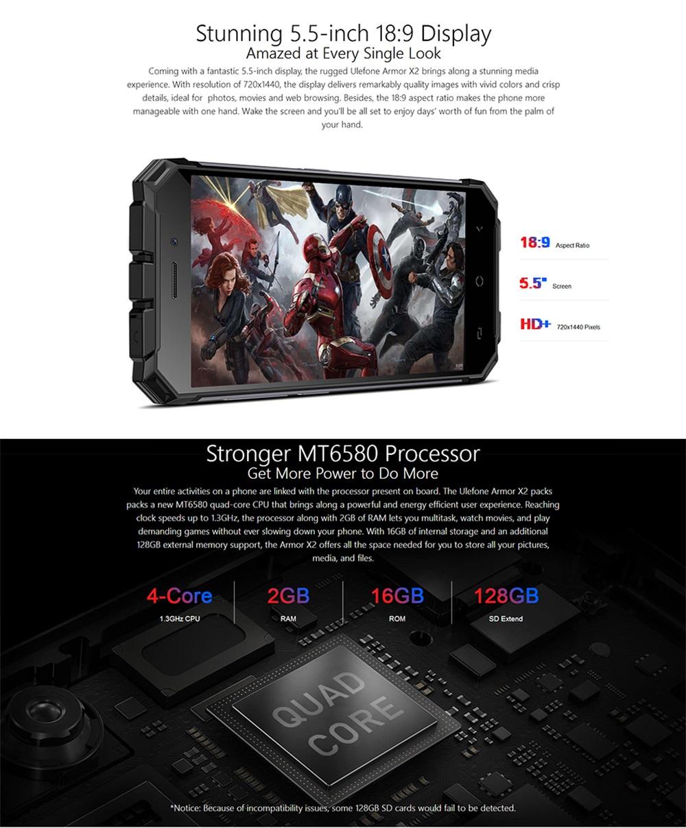 ulefone armor x2 smartphone 16gb