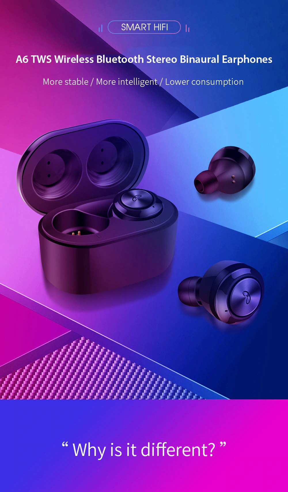 a6 tws bluetooth binaural earphones