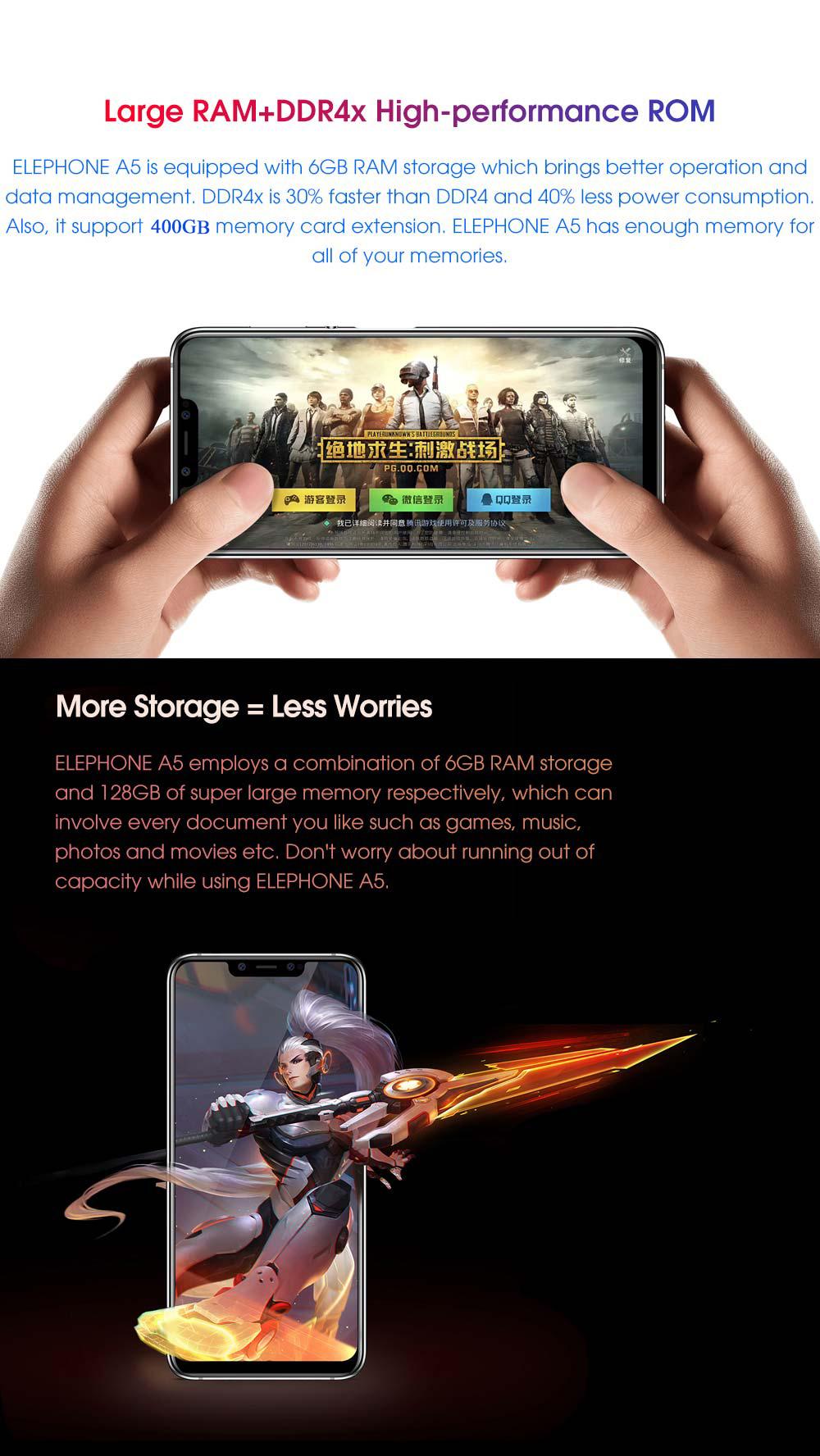 2019 elephone a5 4g smartphone 6gb/128gb