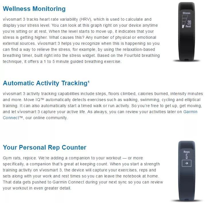 new garmin vivosmart 3 smart wristband