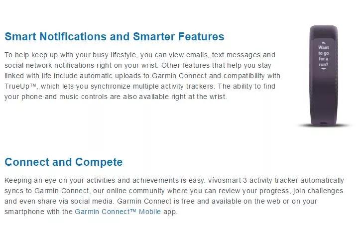 garmin vivosmart 3 smart wristband for sale