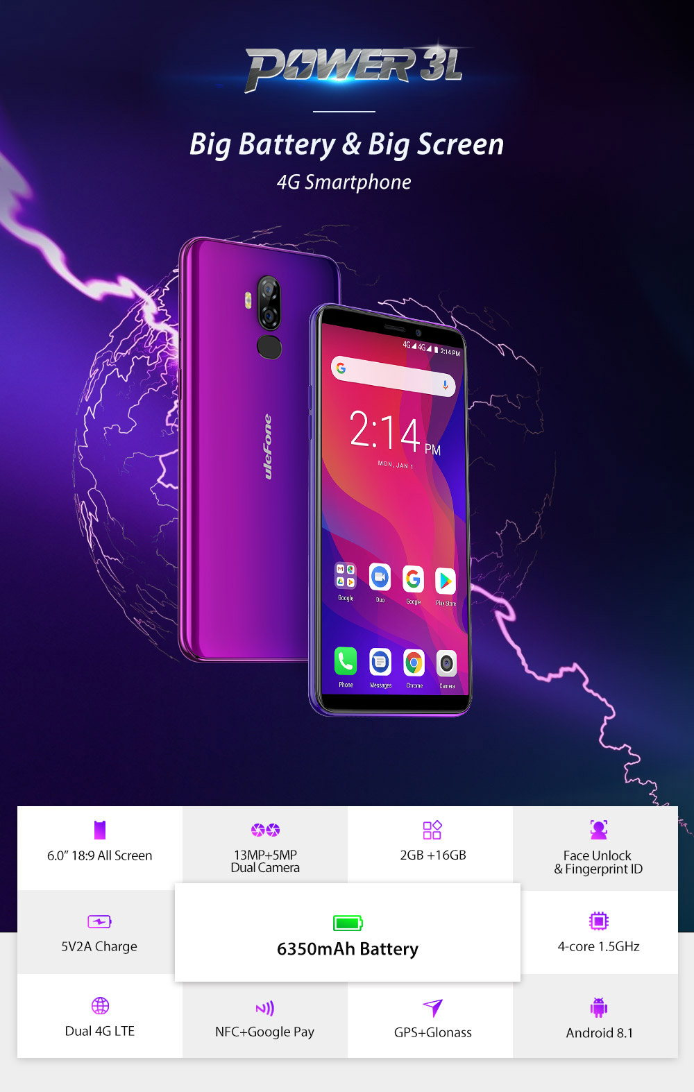 ulefone power 3l 4g smartphone