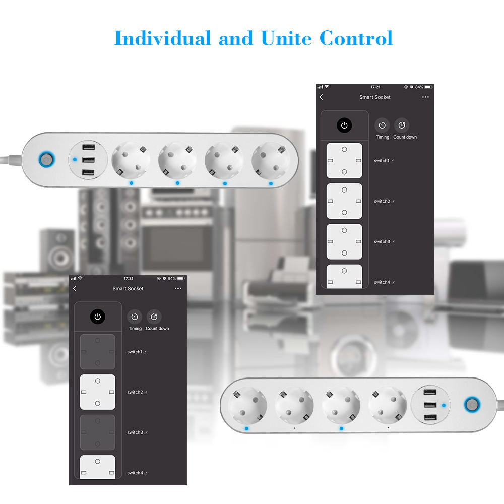 new sa-p402a smart wifi power strip socket