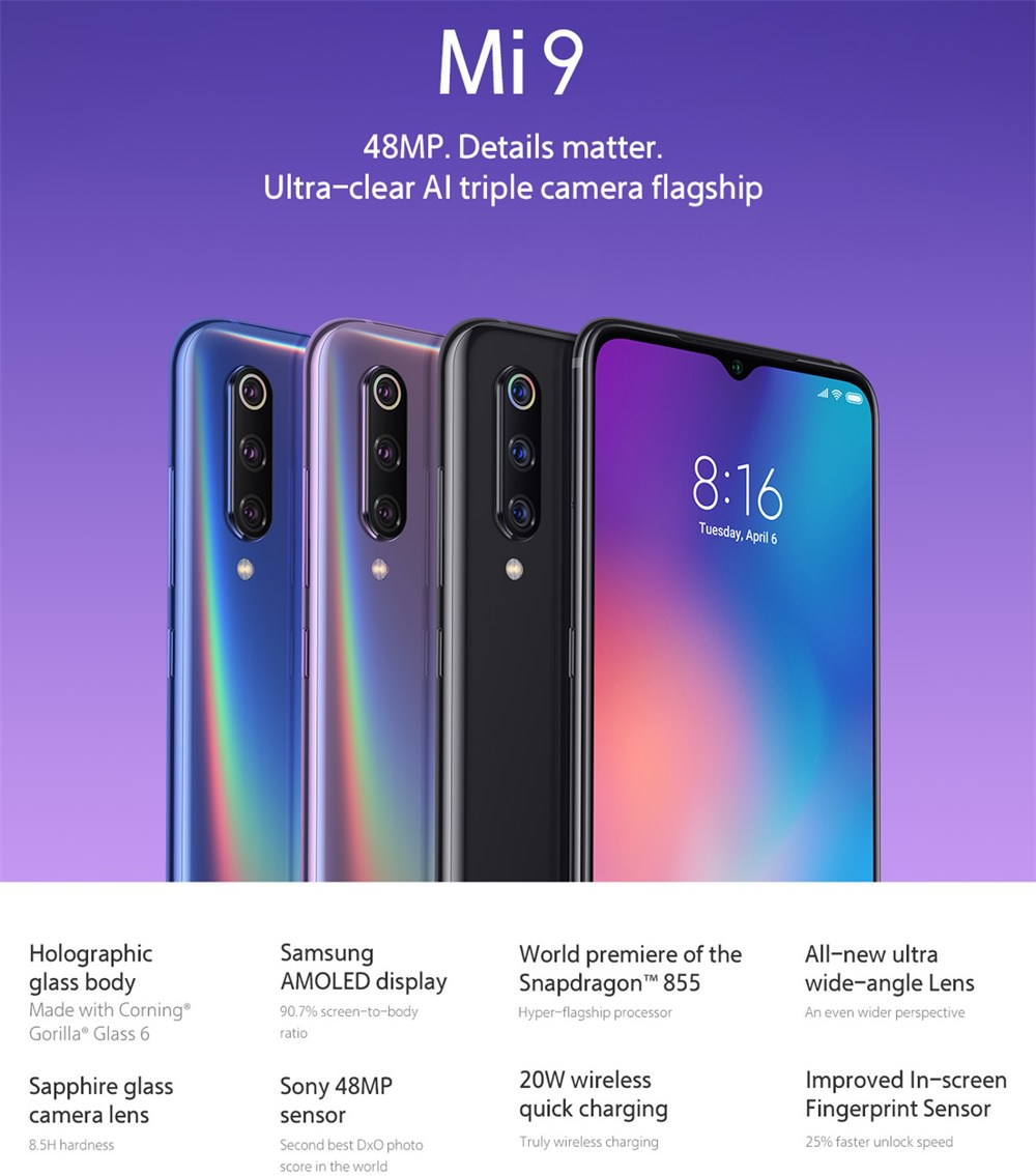xiaomi mi 9 4g smartphone 6gb