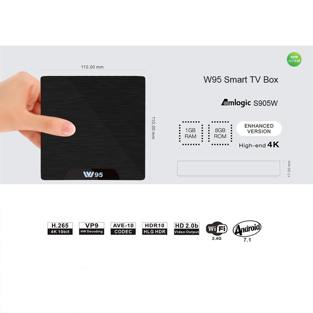 Beelink W95 Amlogic 4K TV BOX Android7.1 DDR3 1G/2G eMMC 8G/16G