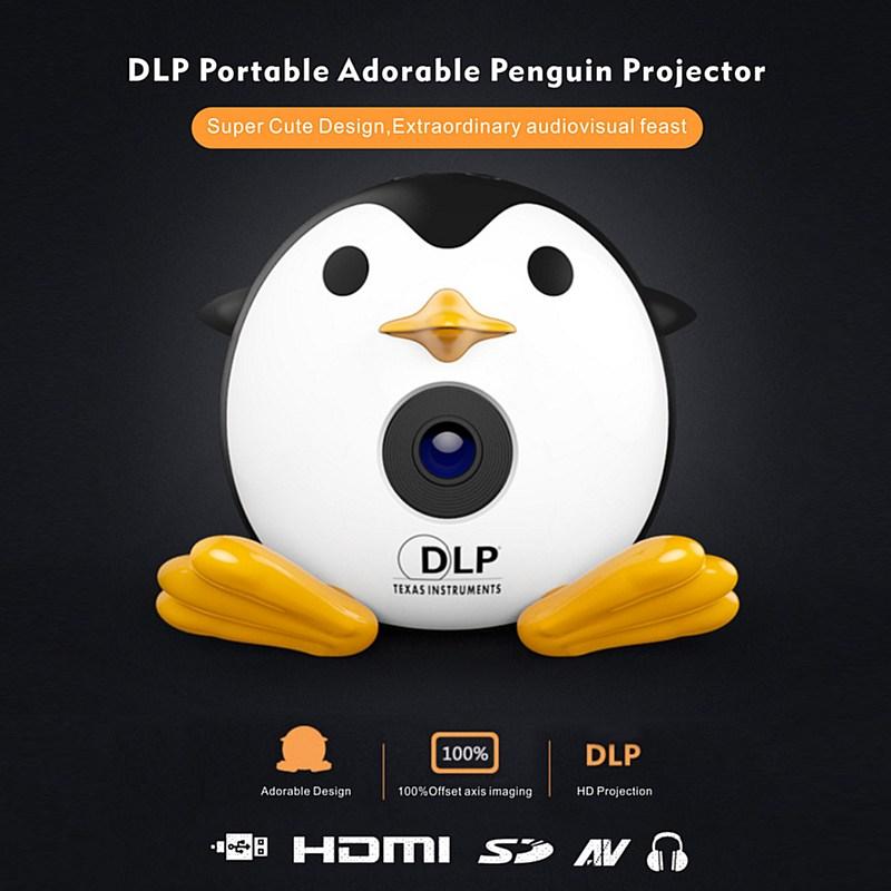 UNIC Q1 Mini DLP Portable Projector Cute Penguin Cartoon LED Home Video Player