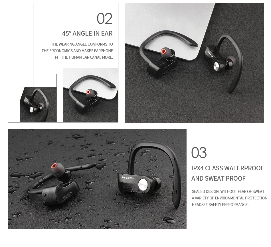 AWEI T2 Wireless Bluetooth V4.2 Headset Sweat-proof TWS True with Microphone