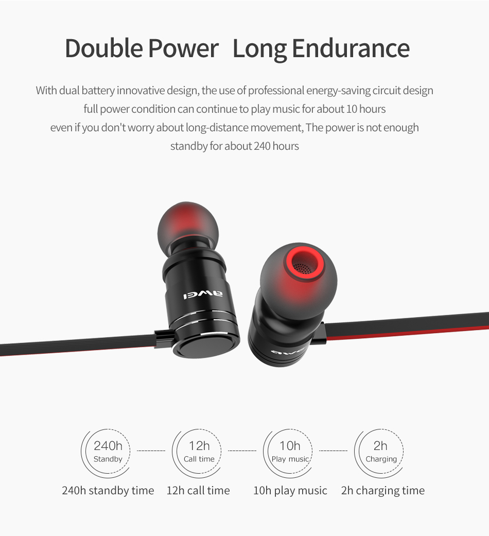 AWEI AK3 Wireless Bluetooth Headset IPX4 Waterproof Speaker