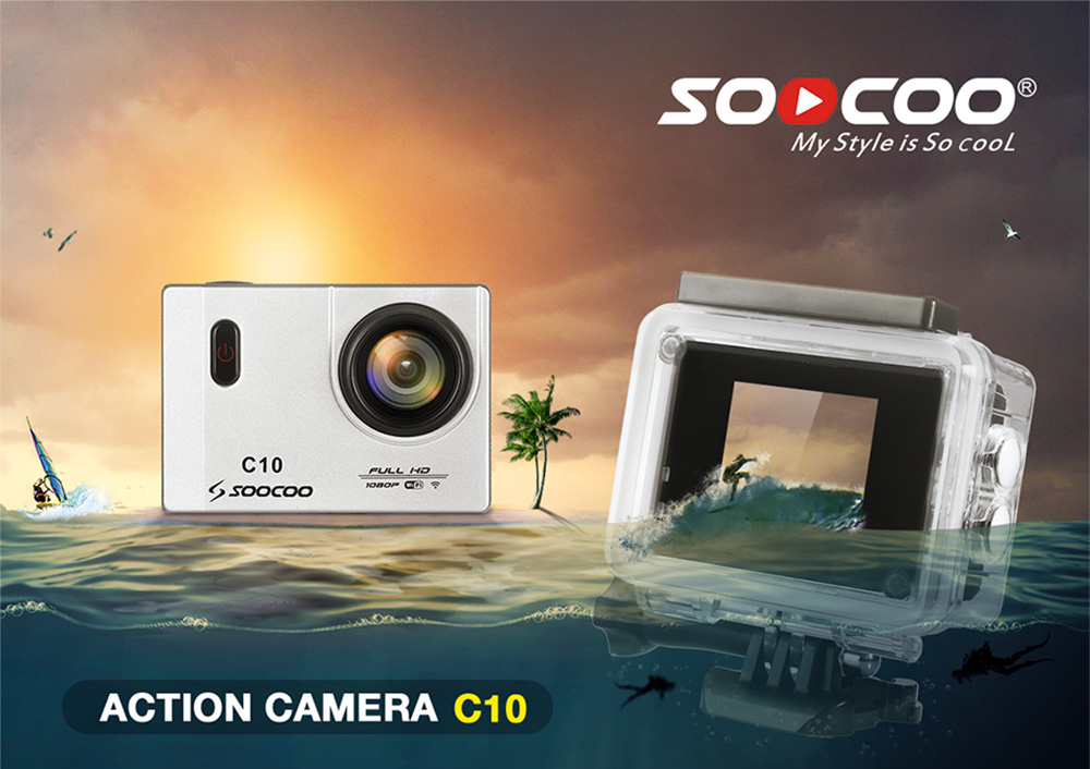 SOOCOO C10 Full HD Action Camera with 1.5 LCD WiFi Cam 170 Degrees Wide Waterproof  Lens