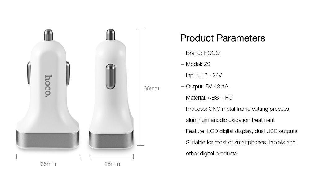 HOCO Z3 Dual USB Port Car Charger Digital Display Charging Adapter